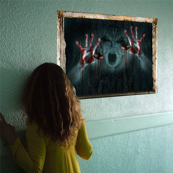 2018 Halloween decoration Happy Halloween Household Room Wall  Mural Decor Decal Removable Terror 3d wall @40