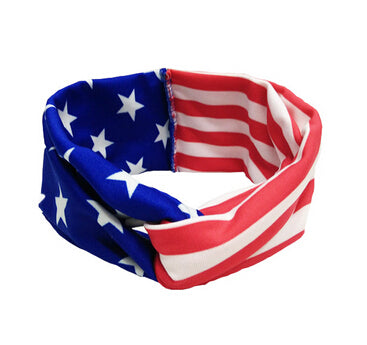2018 New 1PCS America Rabbit Ears 4th of July Flag Elastic Bow Headband Twist Turban For Kids Girls Head Band Hair Accessories