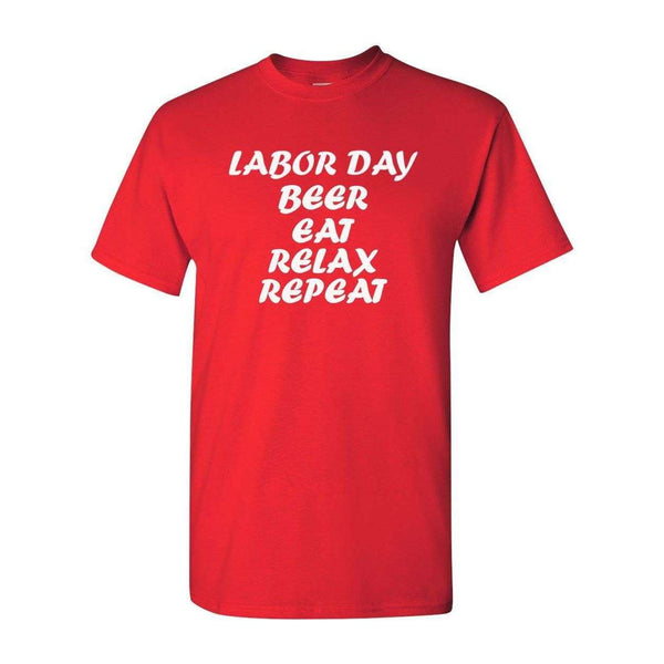 2018 New Short Sleeve Tee Labor Day Beer Eat Relax Repeat T Shirt Holiday Gift Present Tee T-Shirt Male T Shirt