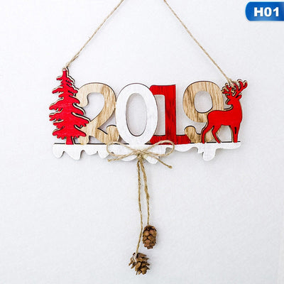 2019 Christmas New Year Door Decoration Hanging Pendant Christmas Ornaments Wooden Hanging Elk Christmas Tree Pendant