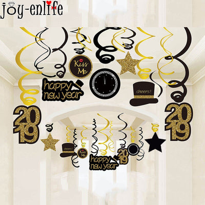 2019 Happy New Year Decoration Funny Photo Booth Props Gold Black Banner Garland Cake Toppers Christmas Navidad Party Supplies