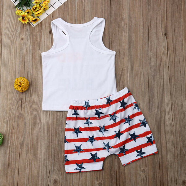 2019 Infant Toddler Boy 4th of July Summer Outfits Set Letter Print Vest Tops+Star Striped Shorts Independence Day Clothes 6M-4T