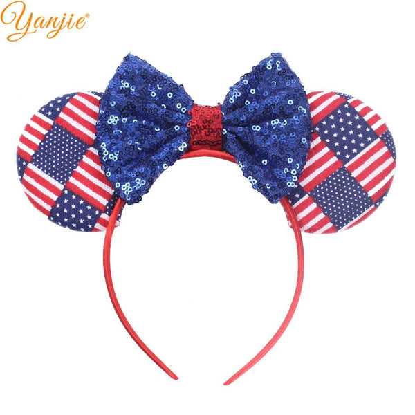 "2019 July 4th Striped Cotton/Denim Bow Hairband For Girls 5"" Red/White/Blue Headwear Independence Day Party Hair Accessories"