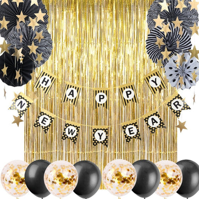 2019 New Year Decoration Pack Of 16pc With Foil Curtail Hanging Star Garlands Happy New Year Banner For New Years Eve Decoration