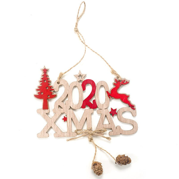 2020 Merry Christmas Decor for Home Happy New Year Supplies Navidad Xmas Gift Wooden Ornament Christmas Tree Decoration Pendant