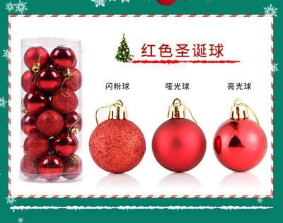 24PCS Christmas Tree Ball Bauble Hanging Ornament Decoration Xmas Home Party