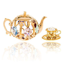 24K Gold Plated Highly Polished Teapot Ornament Made with Genuine Matashi Crystals