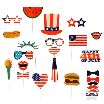 25PCS Photo Booth Props For Independence Day Beards Lips Flag 4th Of July Photo Props Party Favors