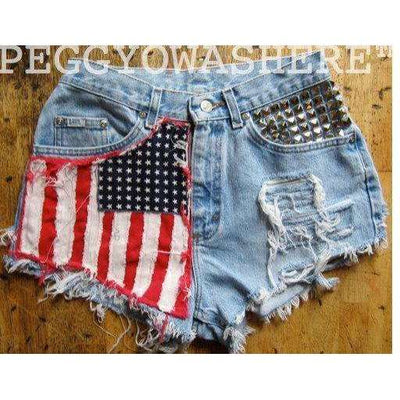 28 waist Vtg 1970's faded Lee rag high waist Cut offs denim shorts studs American Flag moto 8 PEGGYOWASHERE design OOAK patchwork