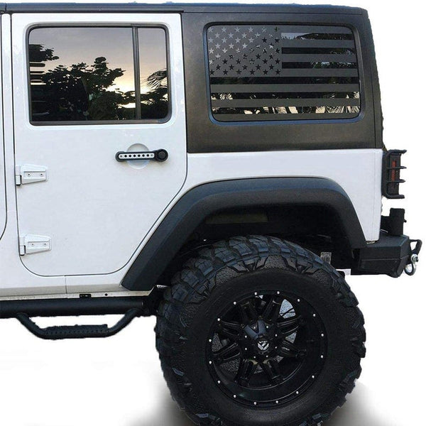 Fits 2018-2021 Jeep Wrangler 4 Door JL JLU Rear Quarter Window American Flag Vinyl Decal Stickers 2019 2020