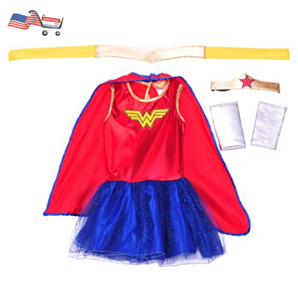 New Deluxe Wonder Woman Movie Costume Dress for Girls Superhero theme Halloween Costume Party Dress