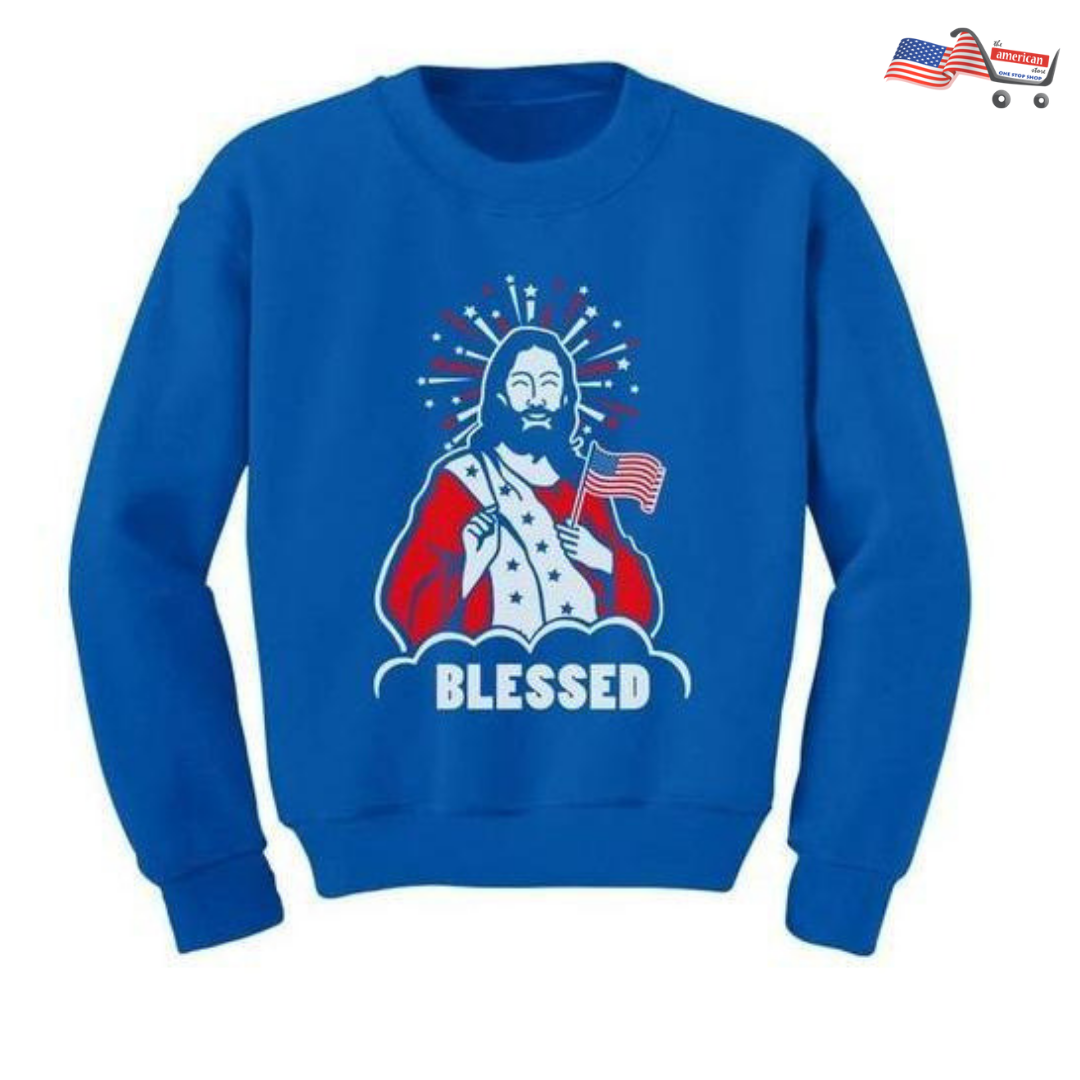 Christian Youth Kids Sweatshirt | Blessed Jesus American Flag USA 4th of July