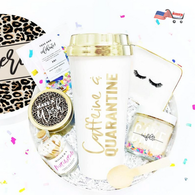 Quarantine Birthday Gift Box - Quarantine Birthday Gifts For Her - White Confetti - Happy Birthday - Birthday for Her - Quarantine Gift Set