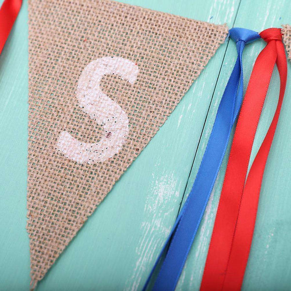 2M USA Burlap Pennant Bunting Banner Hanging Decor for American National Day Forth of July Independence Day