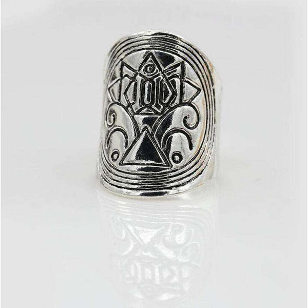 2pcs European and American bohemian index finger ring width version Retro geometric carved totem ring Random Color