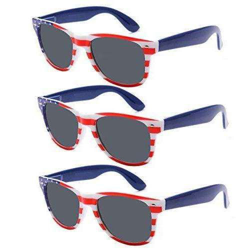 3 Pack Bulk USA American Flag Sunglasses - America Glasses Combo