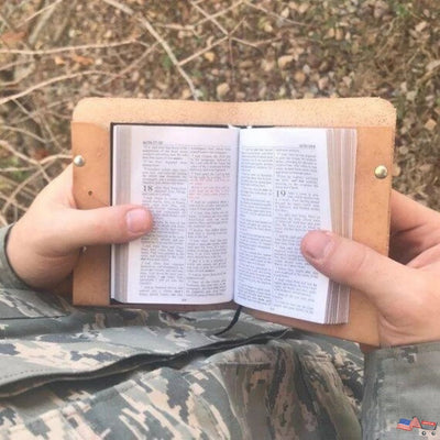 Handmade Leather Bible Cover | KJV Pocket Size Military Bible for Christian gift