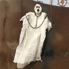 36inch 90cm Tall White Halloween Decoration Hanging Ghost with Chain Light up Eyes Sound and Sensor for Halloween Props