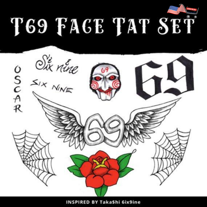 Halloween Costume Tekashi69 Temporary Face Tattoos Set
