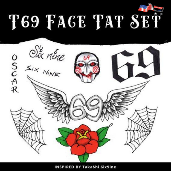 Halloween T69 Face Tattoos Set
