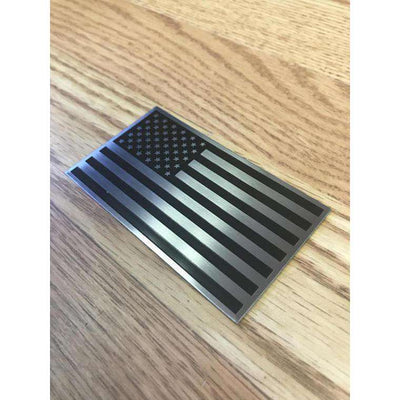 "3D American Flag Aluminum Badge Emblem for your Car, Truck or Motorcycle. Black on Silver 2x3.5"" with double sided tape."