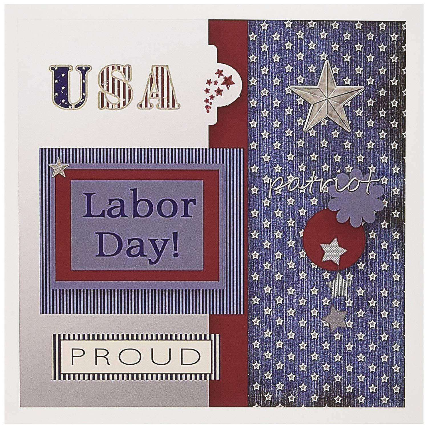 3dRose Patriotic, Blue, Silver, White, Red, Labor Day Greeting Cards, 6