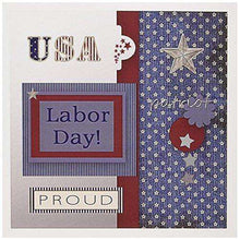 "3dRose Patriotic, Blue, Silver, White, Red, Labor Day Greeting Cards, 6"" x 6"", Set of 12 (gc_130962_2)"