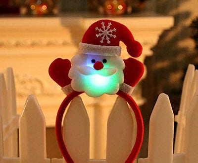 Lovely Christmas Santa Reindeer Snowman Bear LED Light Headband Hair Band Lightening Double Head Xmas Decoration Red New Years E