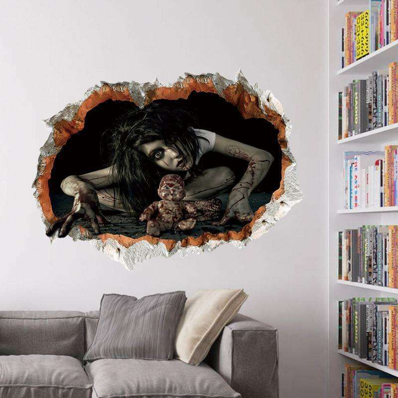 45*60cm Halloween Decoration 3d View Scary Bloody Broken Ghost Sticker Home Halloween Party DIY Decoration ZM