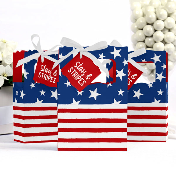 Stars & Stripes - Labor Day Patriotic Party Favor Boxes - Set of 12Stars & Stripes - Labor Day Patriotic Party Favor Boxes - Set of 12