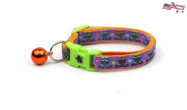 Halloween Large Size Cat Collar | Witchy Boots on Purple Halloween Kitten Collar