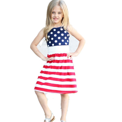 4th of July Kids Dress for Girls American Patriotic Day Cotton Dress Red White Blue Striped Girls Dress July 4th Costume D0816