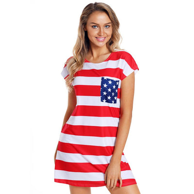 4th of July Party USA Flag Print Mini Dress for Women Elegant Ladies US American Flag High Waist Dresses with Pocket Plus Size
