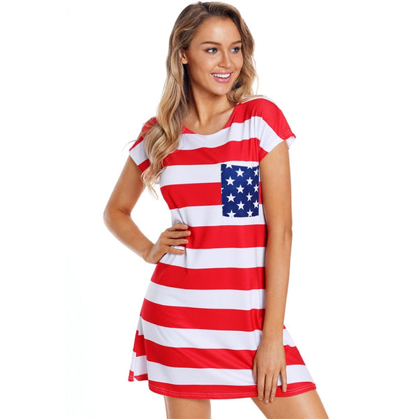 4th of July Party USA Flag Print Mini Dress for Women Elegant Ladies