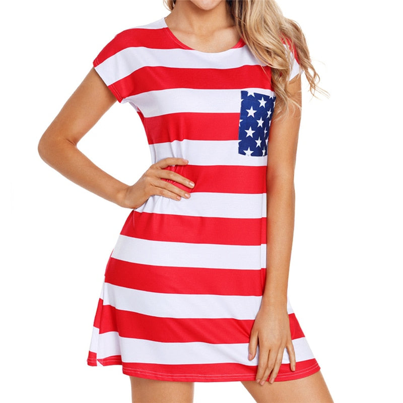 4th of July Party USA Flag Print Mini Dress for Women ...