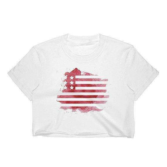 4th of July Crop Top, Independence Day, American Flag Crop Top, American Flag Tee, Watercolor Crop Top, Patriotic, Red White and Blue