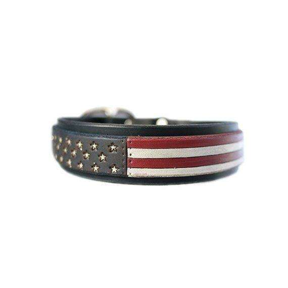 4th of July dog collar red white blue leather dog collar USA made Custom Tooled Leather Dog Collar pitbull collar