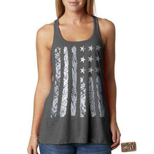 4TH OF JULY TANK - RacerBack Tank - Womens Tank - Usa -  American Flag - Independence Day - Silver Foil Imprint - s -  xxl