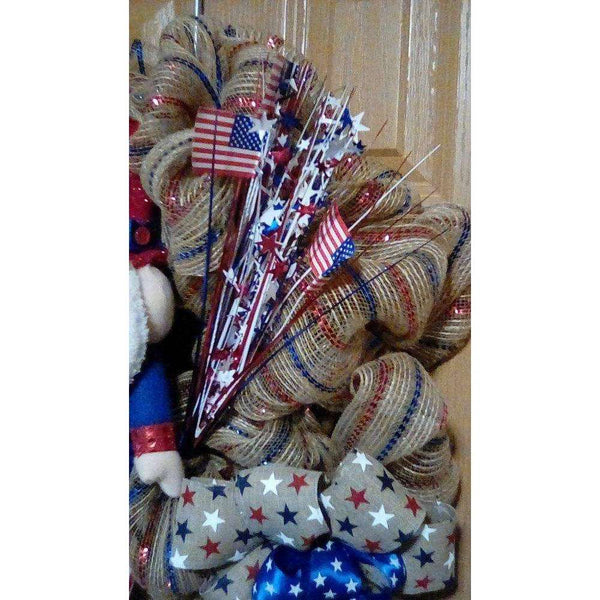 4th of July Wreath, Uncle Sam Wreath, Patriotic Wreath, Labor Day Wreath, Patriotic Door Decor, Patriotic Wall Decor, Patriotic Patio Decor