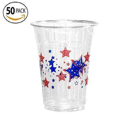 50 Count Disposable Plastic Printed 16-Ounce Party Cups, Patriotic Stars