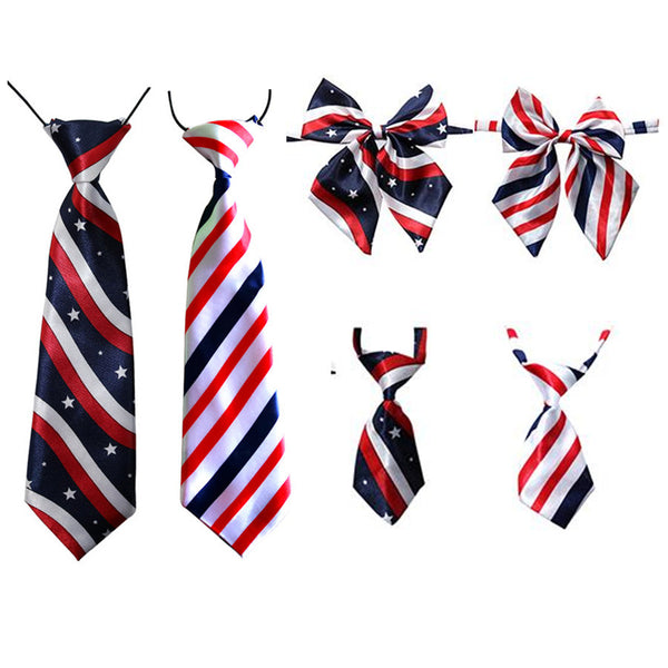 50PC/Lot Pet Dog Bow Ties Adjustable Stripes Dog Neckties Dog Ties for 4th July Pet Supplies