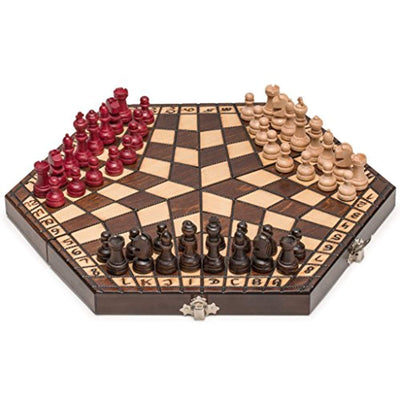 Husaria Wooden Three Person Player Chess, 11 Inches