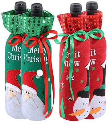 Urijk Wine Cover Bottle Bags Christmas Dinner Party Table Decorations for Home Santa Claus Snowman Gift New Year Party Supplies