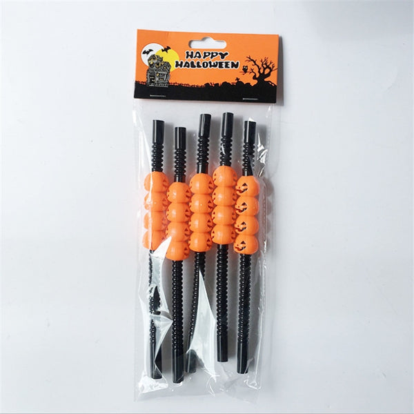 5Pc Halloween Pumpkin Straw Ghost Straws Halloween Decoration Straws Halloween Party Supplies Halloween Decorations for Home-S
