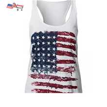 UNIQUEONE Fashion Women Patriotic American Flag Print Sleeveless Casual T-Shirt & Tank Top