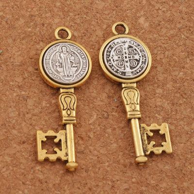 5pcs  Antique Silver and Gold Saint St Benedict Medal Cross Key Spacer Charm Beads Pendants Alloy Handmade Jewelry DIY L1692