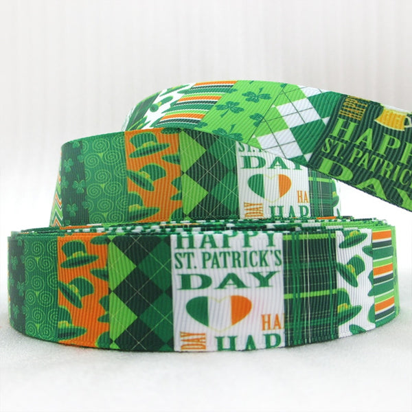 "(5yds per roll) 5Y45695  1""(25mm) ST PATRICKS DAY printed polyester ribbon 5 yards, DIY handmade materials, wedding gift wrap"