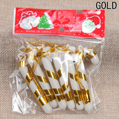 6 Pcs Christmas Candy Cane Ornaments Festival Party Xmas Tree Hanging Decoration Christmas Decoration Supplies