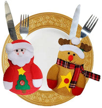 2pcs Xmas Decor Santa Claus Snowman Kitchen Tableware Holder Pocket Dinner Cutlery Bag Party Christmas table decoration cutlery