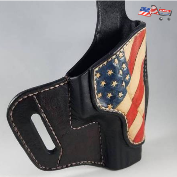 Custom Leather Holster with American Flag Theme for Full Size Glock